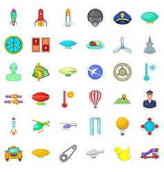 Aviation icons set cartoon style vector