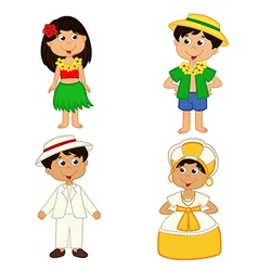 set of isolated children of hawaii and Brazil vector image vector image