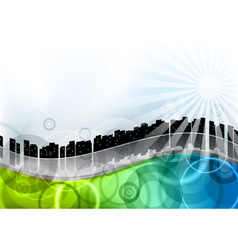 city on the abstract wave vector image
