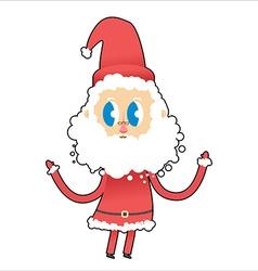 Cute Santa Claus with big eyes Young Santa raised vector image vector image