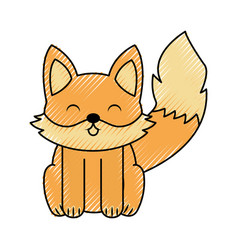 cute scribble fox cartoon vector image vector image