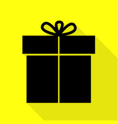 gift sign black icon with flat style shadow path vector image