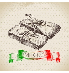 Mexican traditional food background with tamale vector image vector image