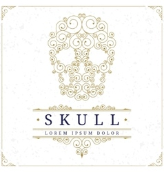 Skull logo template in retro vintage style vector image