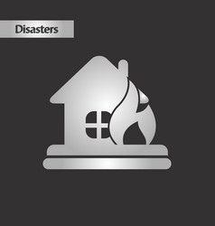 black and white style fire house vector image