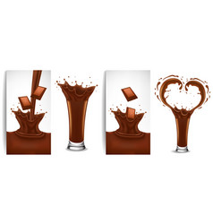chocolate milk flowing and splash creating heart vector image vector image