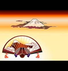 Fuji-san folding fan vector image vector image