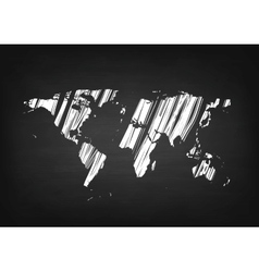 Grunge world map on black chalkboard vector