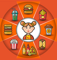 infographic set of fast food icons and woman vector image