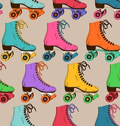 Seamless pattern with retro roller skates vector