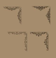 swirl floral design set vector image vector image