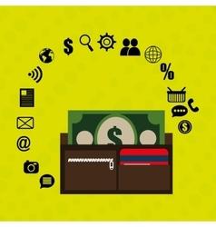 wallet bills money buy vector image