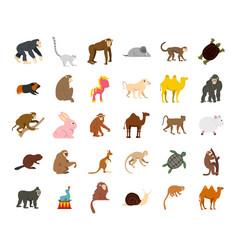 animals icon set flat style vector image