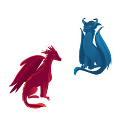 couple of dragon characters with wings and horns vector image vector image