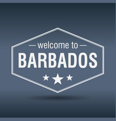 welcome to barbados hexagonal white vintage label vector image vector image