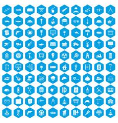 100 construction site icons set blue vector image