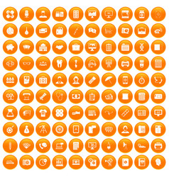 100 department icons set orange vector