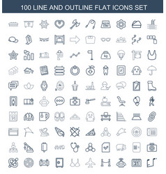 100 flat icons vector