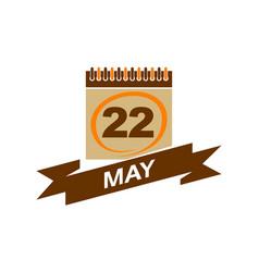22 may calendar with ribbon vector