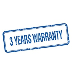 3 years warranty blue square grungy vintage vector