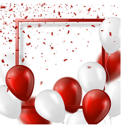 3d balloons with confetti and frame vector