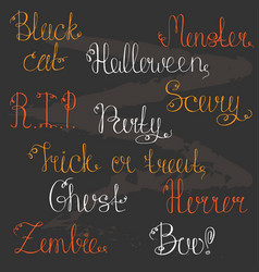 a set of hand-drawn lettering for a halloween vector image