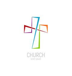 abstract christian cross logo template vector image