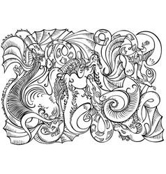 abstract decoration motif dragons black white vector image