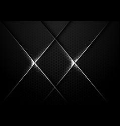 Abstract silver line cross on dark hexagon mesh vector