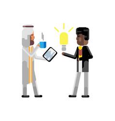 African man holding idea light bulb vector