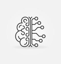 ai brain simple outline icon artificial vector image