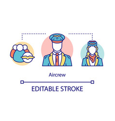 Aircrew concept icon aircraft workers idea thin vector