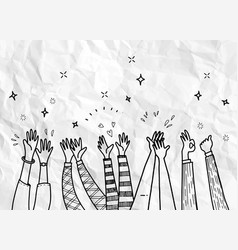 Applause hand drawhand drawn hands clapping vector