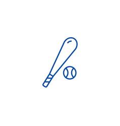 baseball line icon concept baseball flat vector image