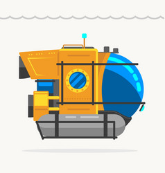 bathyscaphe cartoon yellow submarine sea research vector image