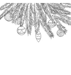 beautiful black and white christmas balls hanging vector image