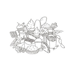big set of hand drawn doodle fast food black and vector image