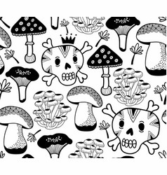 Black and white seamless pattern with mushrooms vector