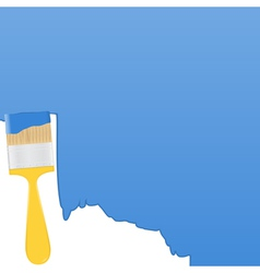 Blue background with yellow paintbrush vector