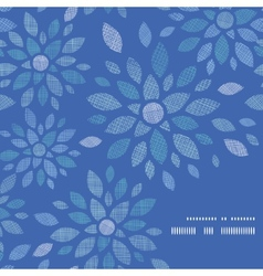 Blue textile peony flowers frame corner pattern vector