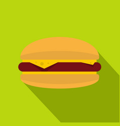 Burger with cheese meat patty and bun icon vector
