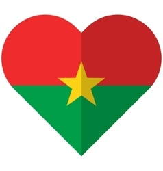 Burkina Faso flat heart flag vector