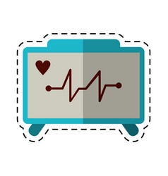 cartoon ecg heart machine medical device vector image