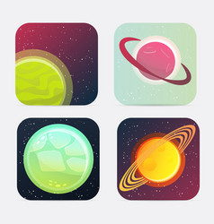 Cartoon square app icons vector