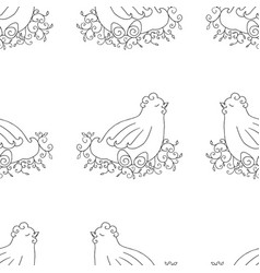 chicken seamless pattern monochrome wallpaper vector image