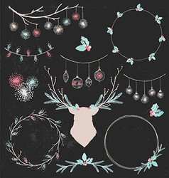Christmas Deer and Wreaths Chalk Drawing Set vector