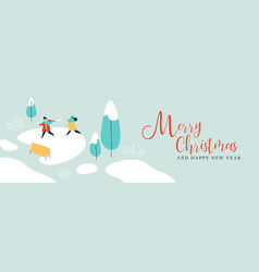 Christmas new year winter children greeting card vector
