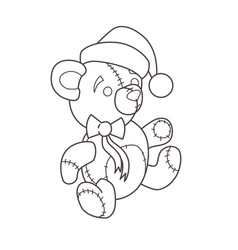 christmas toy teddy in a cap and with a bow vector image