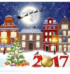 Christmas winter city street vector image