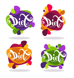 Collection of bright stickers emblems and vector